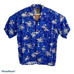 Pineapple Connection Blue Hawaiian Shirt XL